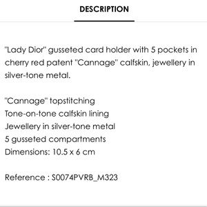 Dior Accessories - Lady Dior Calfskin Card holder